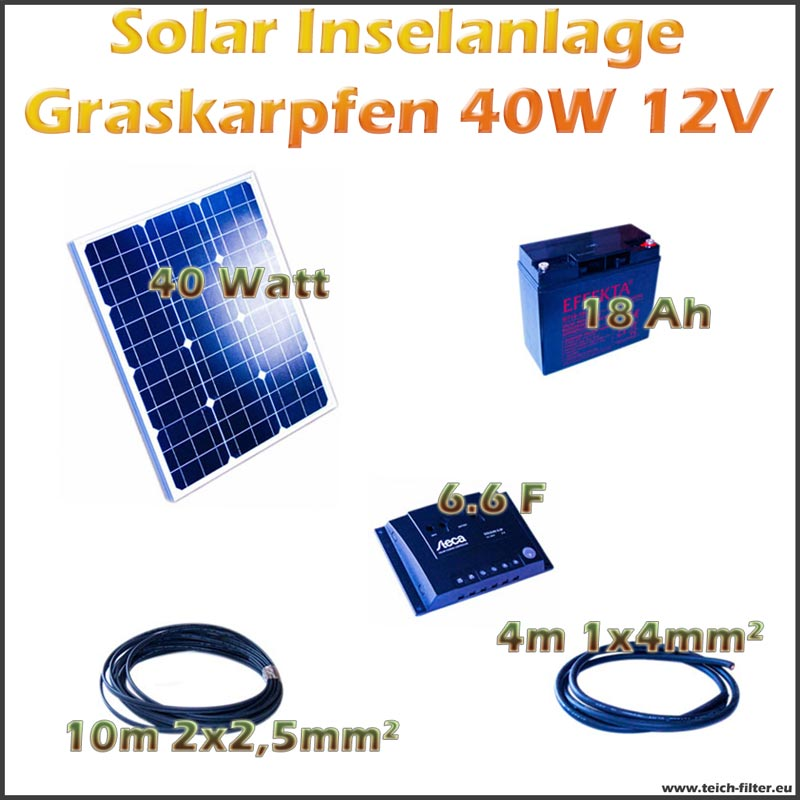 40w 12v solar inselanlage graskarpfen f r garten und wohnmobil als komplettset. Black Bedroom Furniture Sets. Home Design Ideas