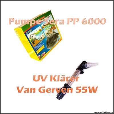 Set mit Pumpe Sera PP 6000 und UV Klärer 55W Van Gerven für Koiteich