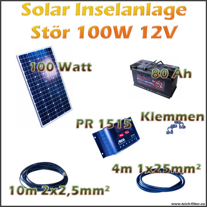 100w 12v solar inselanlage st r f r garten und wohnwagen. Black Bedroom Furniture Sets. Home Design Ideas
