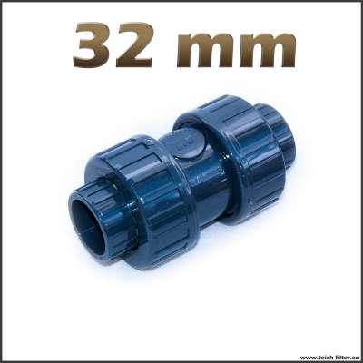Rückschlagventil mit 32 mm Klebemuffen für Teiche und Wasser
