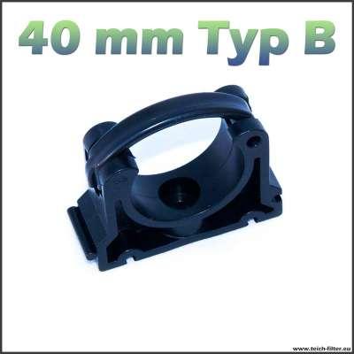 40 mm Rohrschelle schwarz klappbar