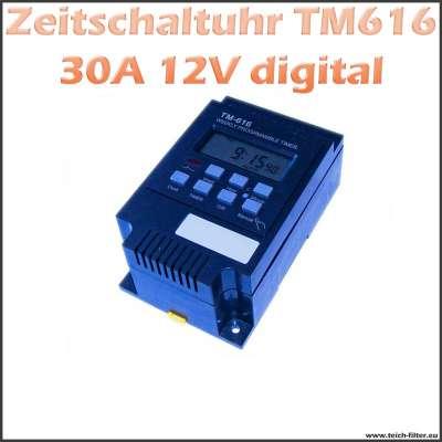 Digitaler Timer 12V 30A 616 als Zeitschaltuhr für Hutschiene und Aufputz