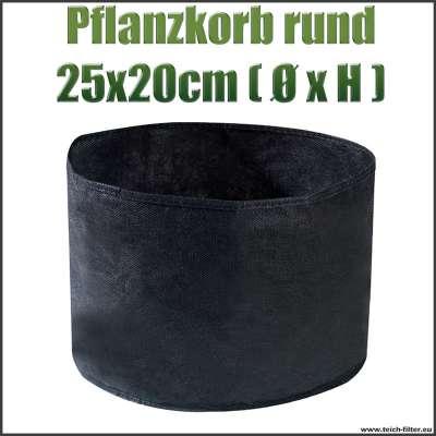 Pflanzkorb, Beutel oder Behälter rund textil für Teichpflanzen mit 25 x 20 cm am Gartenteich