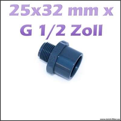 25 x 32 mm Gewindemuffe aus PVC mit G 1/2 Zoll Aussengewinde für Teichwasser