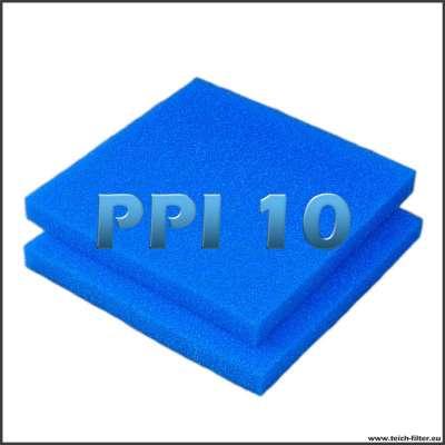 2 grobe Filtermatten für Wasser in 10 PPI mit je 50x50x5 cm als Zuschnitt