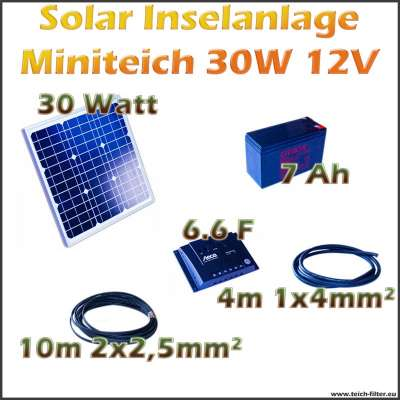 30w 12v solar inselanlage miniteich f r camping und zelt als komplettset. Black Bedroom Furniture Sets. Home Design Ideas