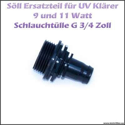 """15246 Schlauchtülle 20mm (3/4"""") mit G 1 Zoll Gewinde für Söll UV Klärer"""
