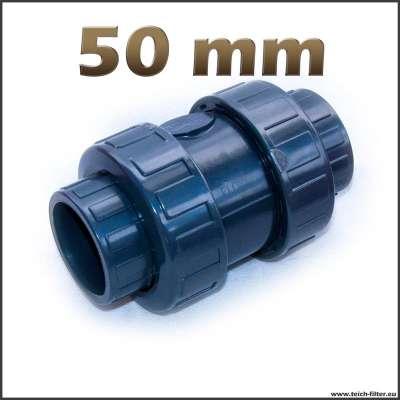PVC Rückschlagventil mit 50 mm Muffen für Pumpen am Teich, Garten und Industrie