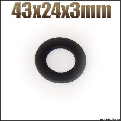 Dichtung 43x24x3mm schwarz flach EPDM Gummidichtung für Schlauchtüllen