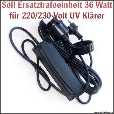 Söll Trafo Ersatzteil 20335 mit 36W und 220/230V für UV Klärer am Titan Teichfilter