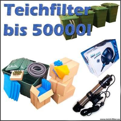 Teichfilter Komplettset 50000 mit Eco O Plus 12V 6500 Teichpumpe für Schwimmteich und Sera Pond 55X UVC Lampe mit 55 Watt Leistung