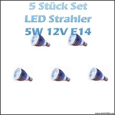 5 Stück Set 5W 12V LED Strahler (Spots, Leuchtmittel) Warmweiss mit E14 Fassung für Solaranlagen günstig kaufen