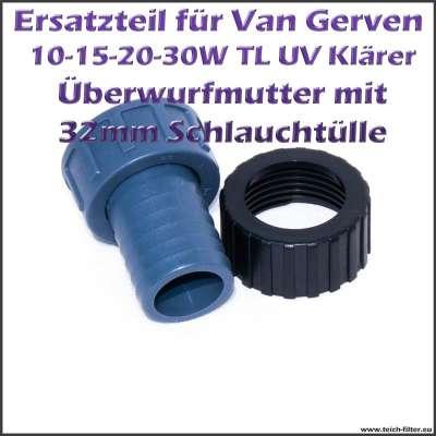 32mm Schlauchanschluss mit Mutter für TL UVC Klärer Van Gerven