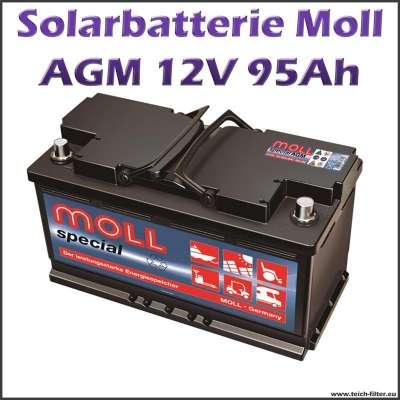 95-100Ah Solarbatterie 12V AGM von Moll für Garten, Haus und Wohnmobil