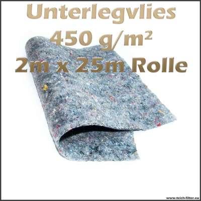 2m x 25m Rolle Schutzvlies 450g / m2 als wurzelfeste Unterlage für Teichfolien