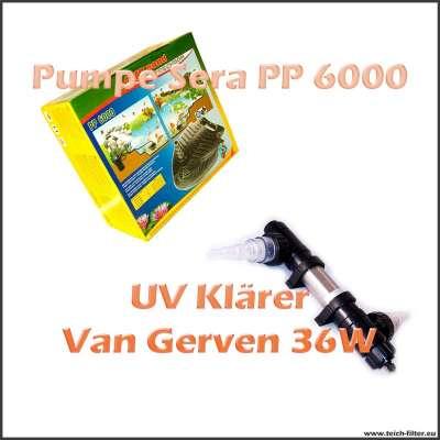 Gartenteich Technikset Sera PP 6000 mit UV Klärer 18W Van Gerven