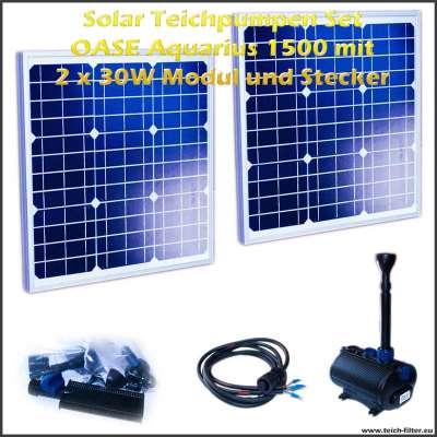 12V Solar Teichpumpen Set 1500 mit 2 Stück 30 Watt Modulen