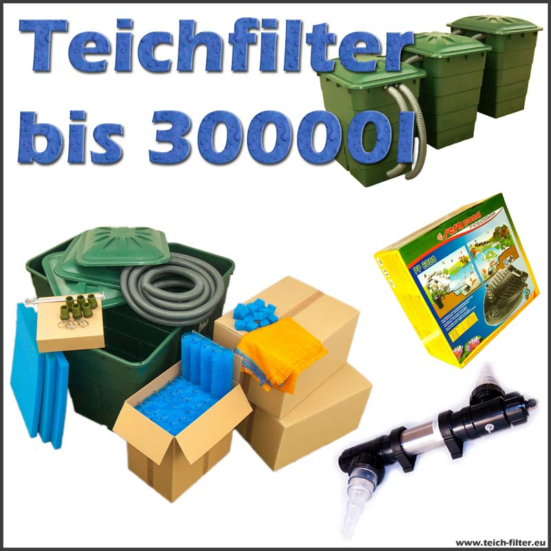 teichfilter 30000 liter premium mit pumpe und uvc. Black Bedroom Furniture Sets. Home Design Ideas
