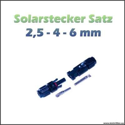Stecker mit Buchse für Solarkabel 2,5 - 4 und 6 mm² an Solarmodulen