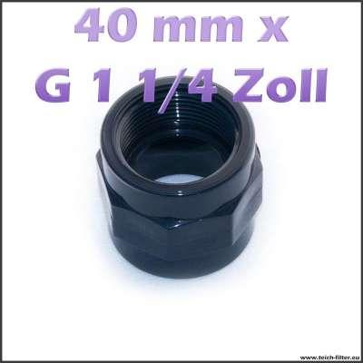 40 mm x G 1 1/4 Zoll Gewindemuffe aus Plastik für Teiche