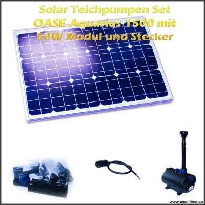 12V Solar Teichpumpen Set 1500 mit 50 Watt Modul und Filter