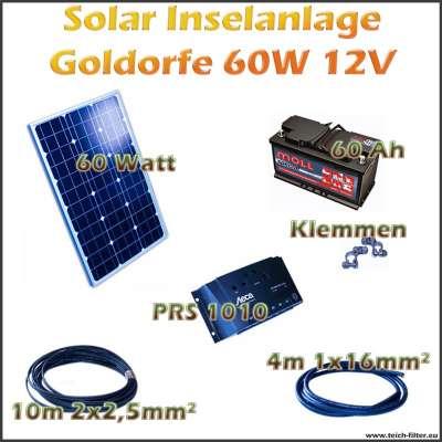 Solar Inselanlage 60W 12V Goldorfe für Teich und Garten als Komplettset