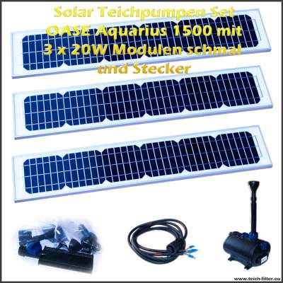 solar teichpumpen set 1500 mit 3x20 watt modulen schmal. Black Bedroom Furniture Sets. Home Design Ideas