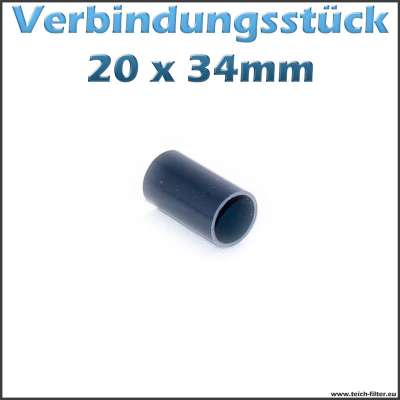 20x34mm Verbindungsstück aus PVC als Rohr