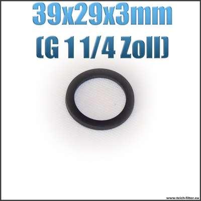 Dichtung 39x29x3mm in schwarz für G 1 1/4 Zoll Innengewinde bei Verschlusskappen und Überwurfmuttern als Gummiring