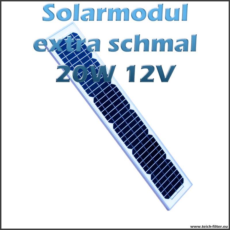 solarmodul 20w 12v extra schmal monokristallin f r garten. Black Bedroom Furniture Sets. Home Design Ideas