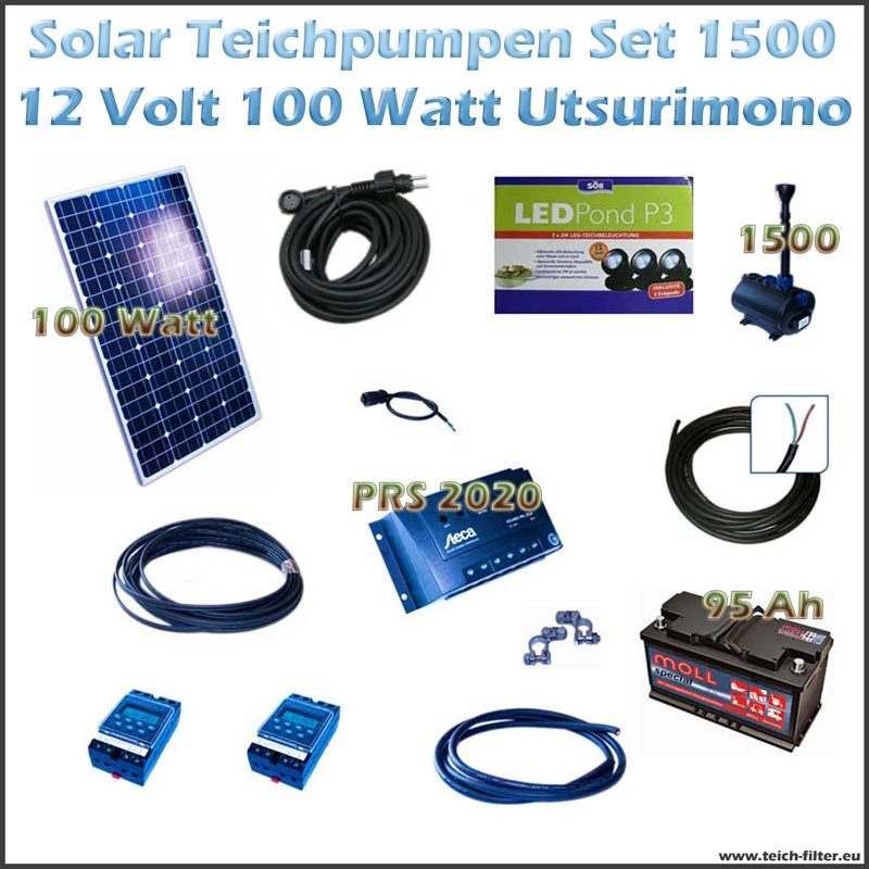 100w 12v solar teichpumpe mit akku und led 1500 utsurimono. Black Bedroom Furniture Sets. Home Design Ideas