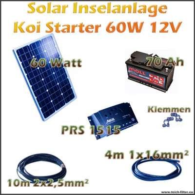 Solar Inselanlage 60W 12V Koi Starter für Teich und Gartenhaus als Komplettset