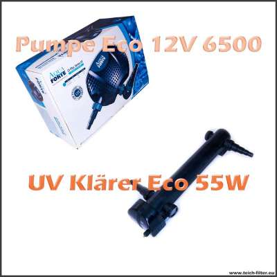 Teichtechnik Set Eco O 6500 12V Pumpe mit 55W UV Klärer