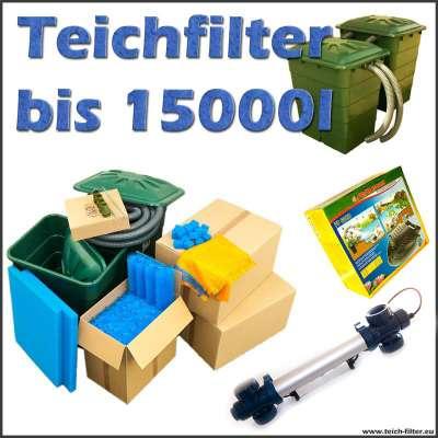 Teichfilter Set bis 15000 Liter Wasser komplett mit Filtermaterial, Regentonne, Anschlüssen, Sera PP 6000 Teichpumpe und 40 Watt UVC Lampe von Van Gerven