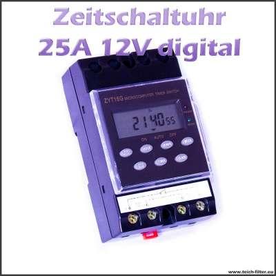 Zeitschaltuhr 12V 25A für Hutschiene und Aufputz