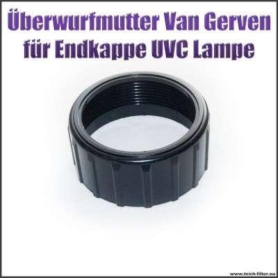 Überwurfmutter schwarz für Endkappe an Van Gerven UVC Lampe Koi Professional als Ersatzteil