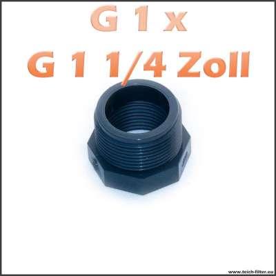 G 1 x 1 1/4 Zoll Gewindeadapter aus PVC