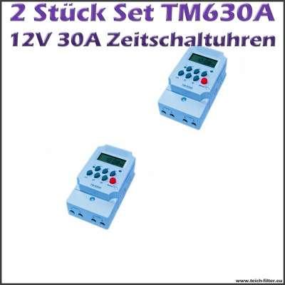 2 Stück 12V Timer Zeitschaltuhren 30A 630A im Set digital programmierbar mit Display