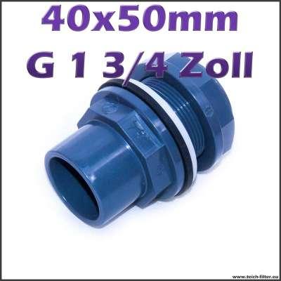 40 x 50 mm Tankdurchführung aus PVC Kunststoff mit G 1 3/4 Zoll Gewinde für Wasser