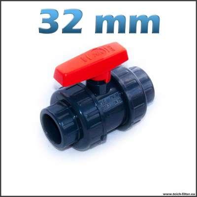 PVC Kugelhahn mit 32 mm Klebeanschluss
