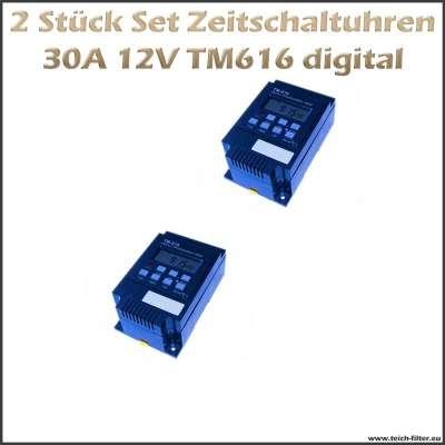 2 Stück Set digitale Timer 12V 30A 616 als Zeitschaltuhren für Hutschiene und Aufputz