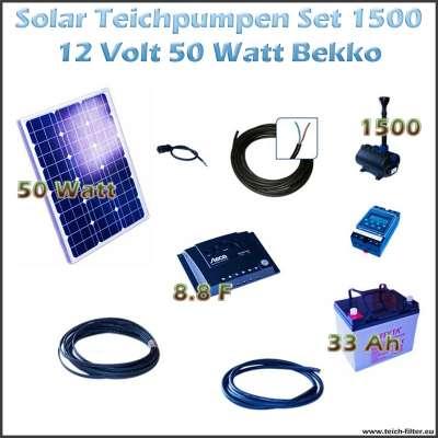 50W 12V Solar Teichpumpe im Set mit Akku 1500 Bekko für Wasserpumpe