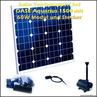 12V Solar Teichpumpen Set 1500 mit 60 Watt Modul für Springbrunnen