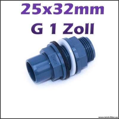 Tankdurchführung PVC 25 x 32 mm mit G 1 Zoll Gewinde