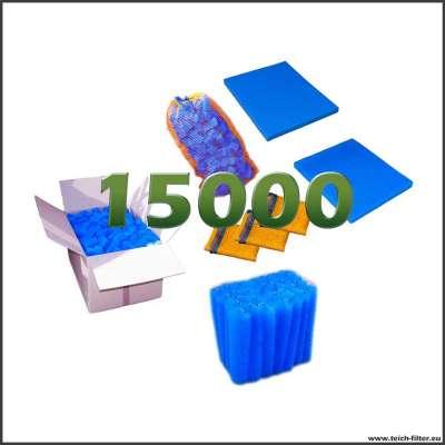 Set mit Filtermaterial für Teichfilter aus 2 Regentonnen bis 15000 Liter Wasser