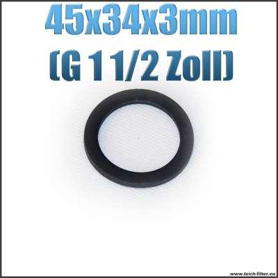 Dichtung 45x34x3mm in schwarz für G 1 1/2 Zoll Innengewinde bei Verschlusskappen und Überwurfmuttern als Gummiring