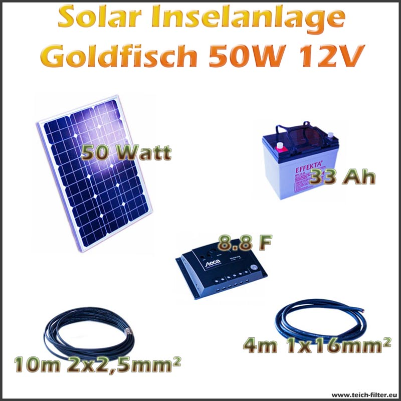 50w 12v solar inselanlage goldfisch f r boot und garage. Black Bedroom Furniture Sets. Home Design Ideas