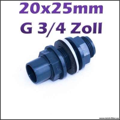 PVC Tankdurchführung mit 20 x 25 mm Klebeanschluss und G 3/4 Zoll Gewinde