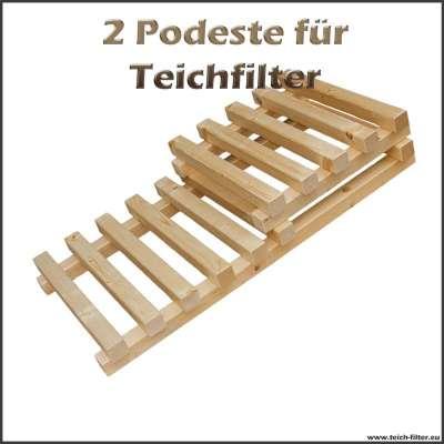 2 Holzpodeste für Teichfilter bis 15000 und 30000 Liter