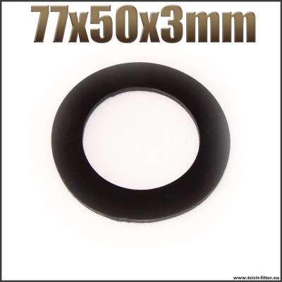 Dichtung 77x50x3mm schwarz flach EPDM Gummidichtung für Schlauchtüllen